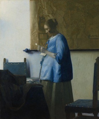 Woman Blue Reading a Letter