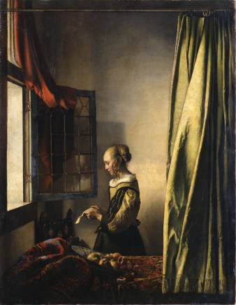 A Girl Reading a Letter by an Open Window