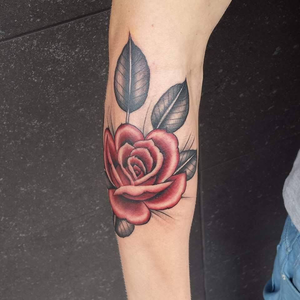Neotraditional Red Rose Tattoo Inkredible Ink Tattoonl