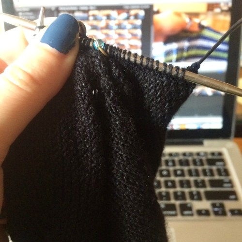 knitting while editing video about knitting