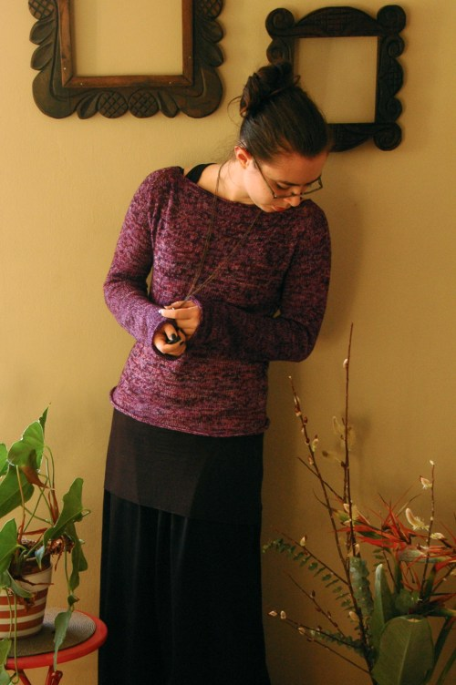 purple sweater-front