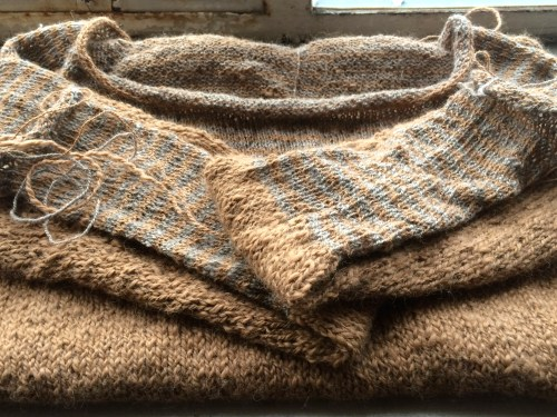 handspun hand knit half finished sweater