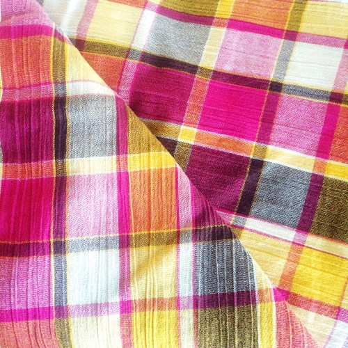pink yellow plaid cotton gauze fabric