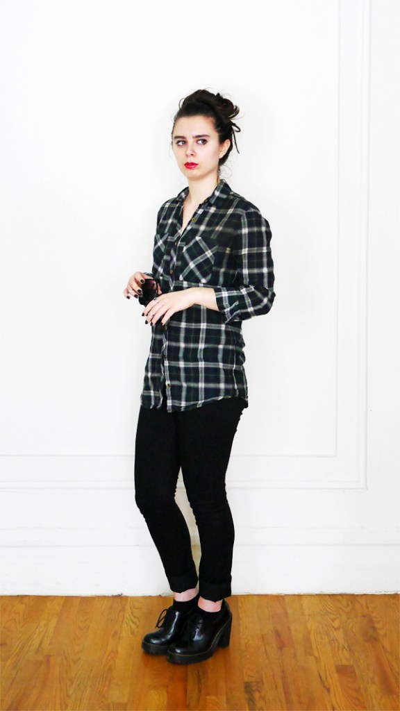Summer 2017 10x10 Plaid Shirt+Black Jeans 4