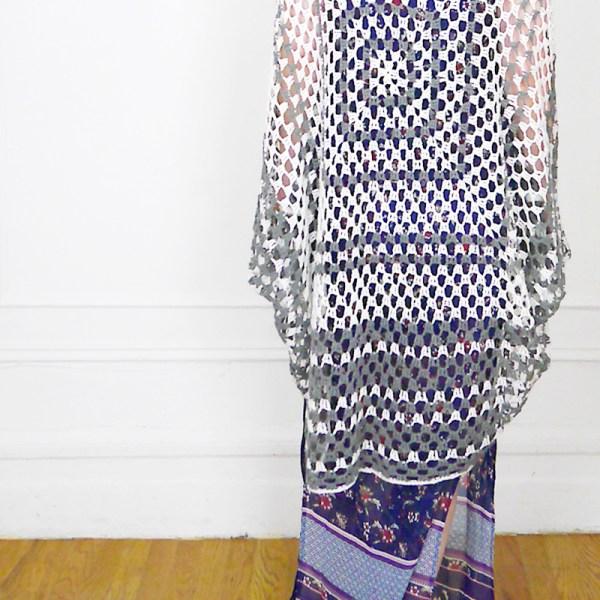 70s Floral Maxi Dress + Granny Square Cardigan 2-2