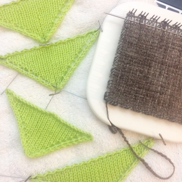 Shawl Geometry knit swatches and weaving