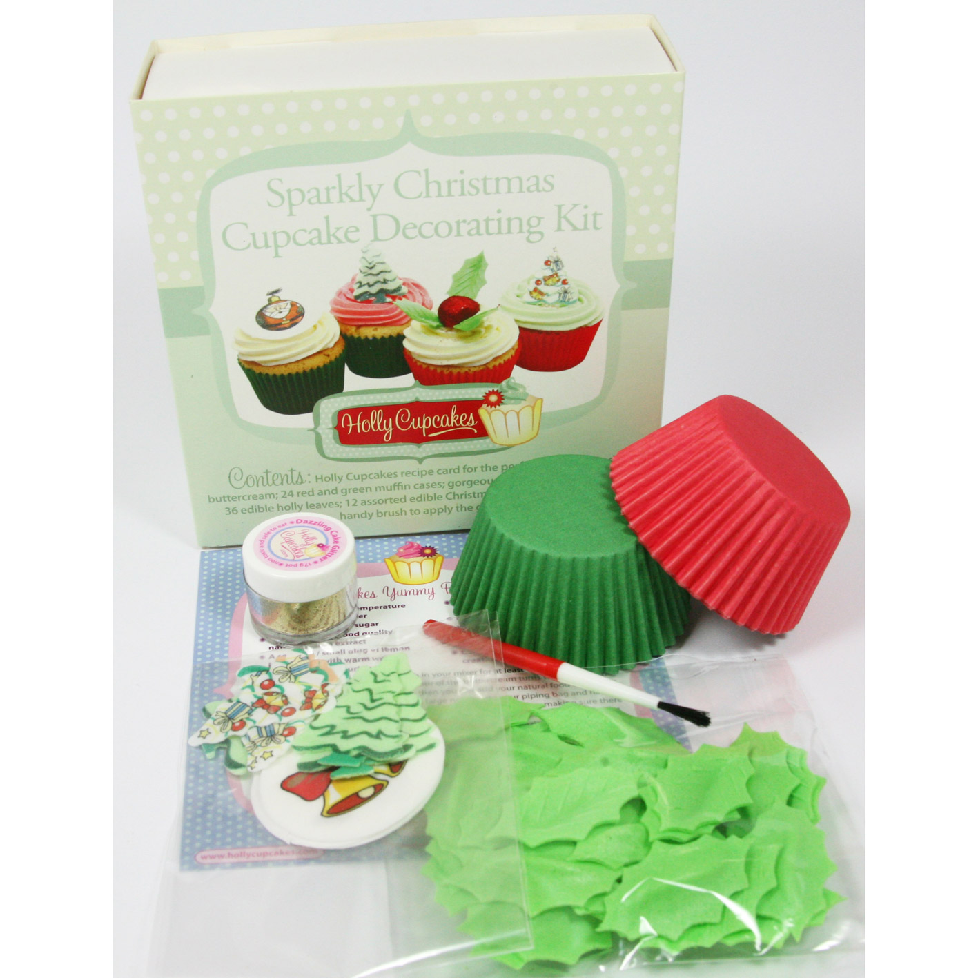 Sparkly Christmas Cupcake Decorating Kit Holly Cupcakes