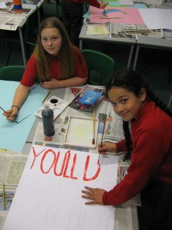Making placards 2