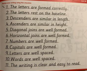 Y2 Handwriting Skills Check list