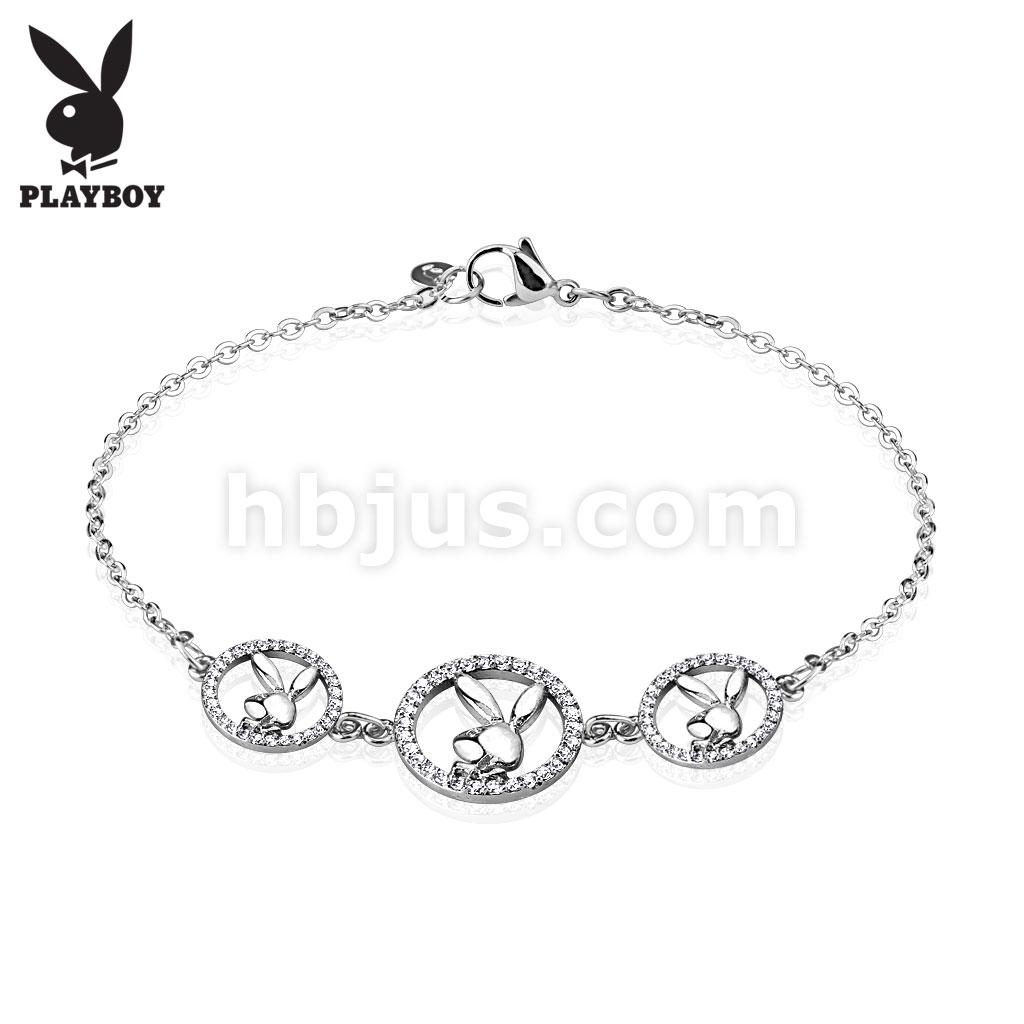 Three Round Multi Paved Gemmed Playboy Bunny Logo