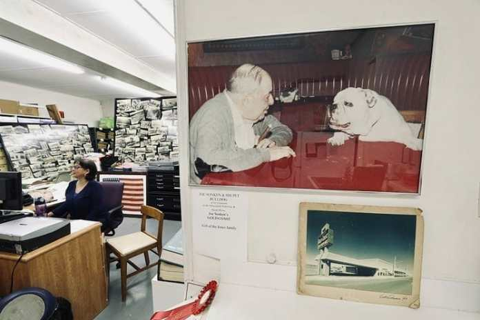 Photo of Joe Sonken and his dog Bozo, on display at the Hollywood Historical Society