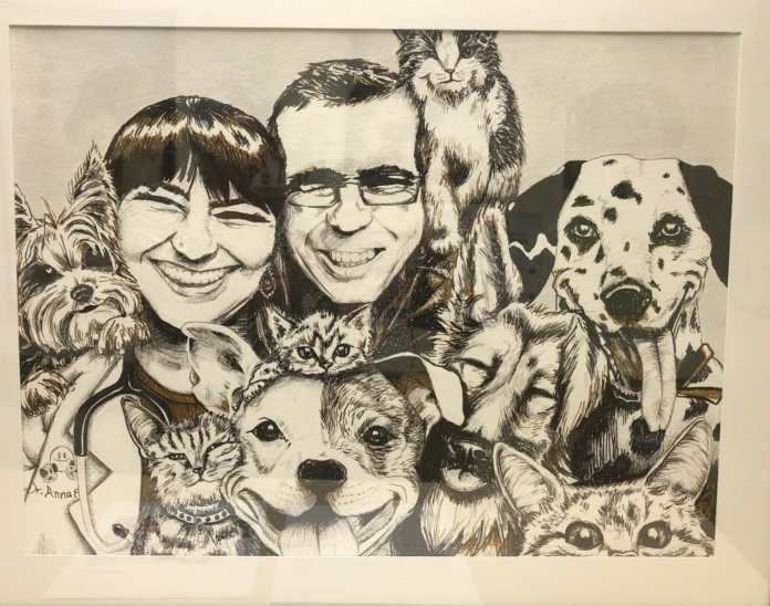 Artwork of Dr. Anna and her husband Frank, a gift from a grateful patient