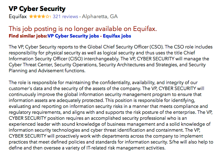 Equifax Cybersecurity job