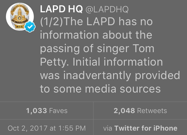 LAPD Tweets on Tom Petty