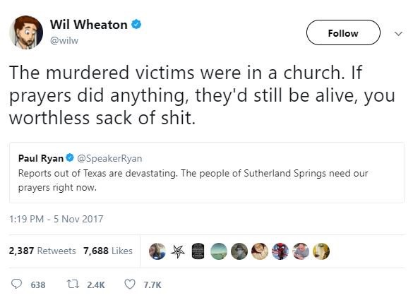 Wil Wheaton Tweet on Prayer