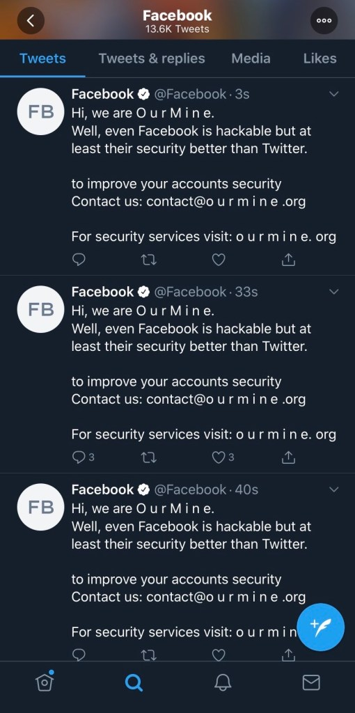 Tweets on Facebook's hacked Twitter account