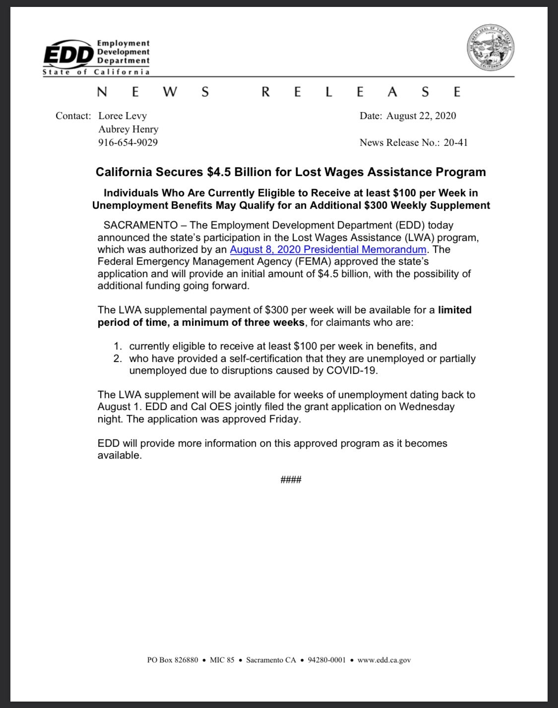 California Lost Wage Assistance