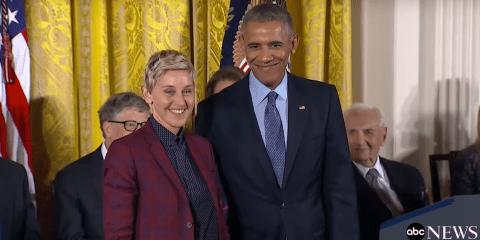 Ellen DeGeneres und Barak Obama