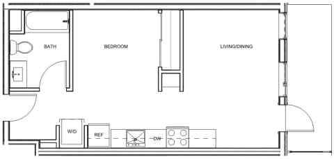 Studio / 1 Bath / 521 sq ft / Deposit: $400