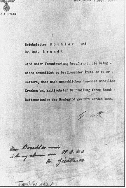 Signed Letter by Hitler Authorizing Euthanasia Killings
