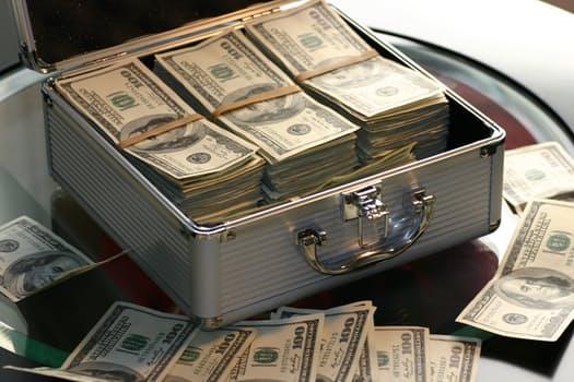 Dollars in a cash box