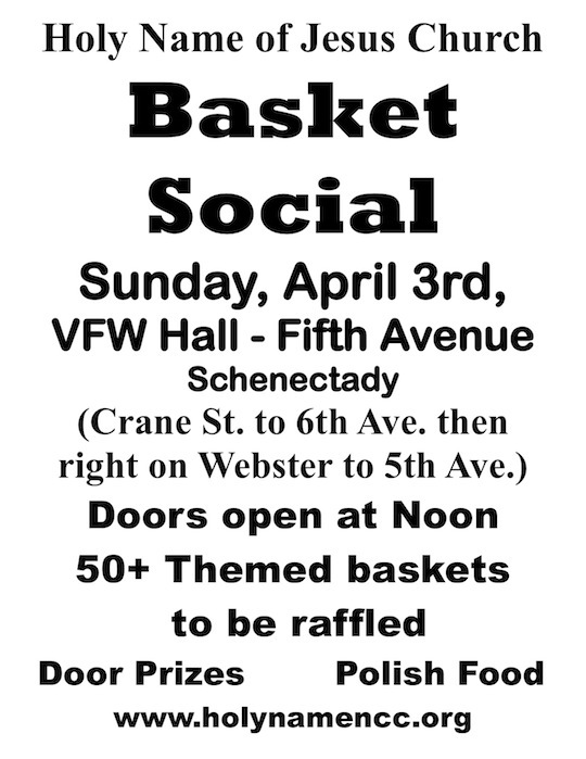 Basket Social in Schenectady NY, theme basets, raffle, Polish kitchen