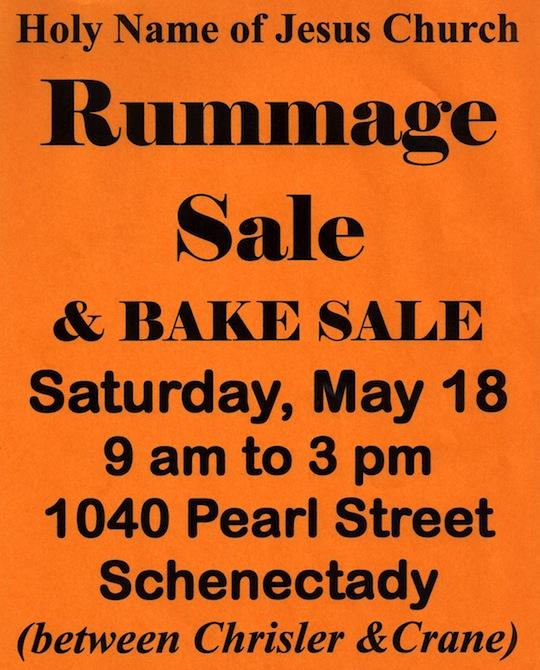 May 18 Rummage Bake sale Schenectady