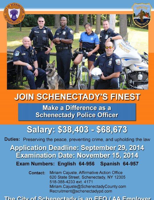 Schenectady police officer exam