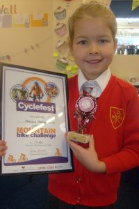 Abigail with her certificate and amazing trophy!
