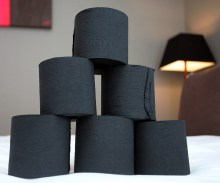 Black toilet paper imported from Portugal captured in Hotel PR photography. Photographed by Scottish PR experts.