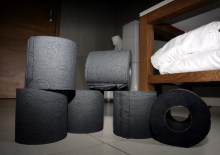 Black toilet paper provides the finishing touch at Tigerlily. Captured in hotel PR photography by Scottish PR experts.