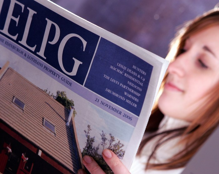 Property PR photography ELPG group Edinburgh shot of newspaper by Holyrood PR Edinburgh