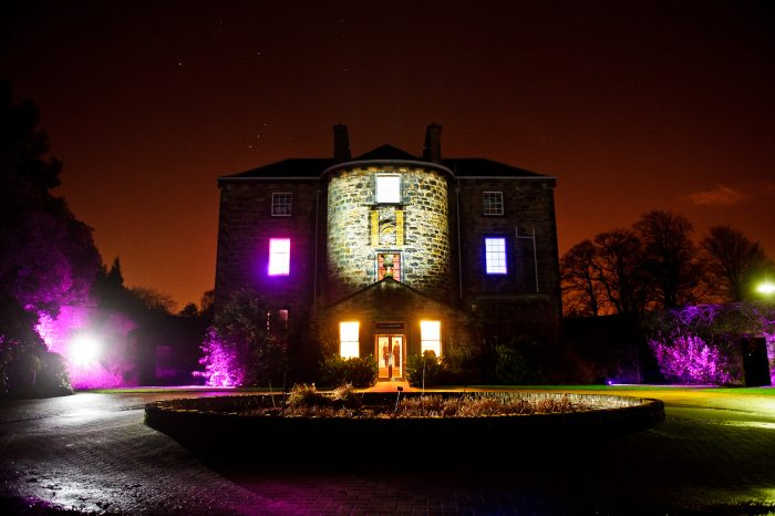 Scottish PR photography Inverleith House exterior lit up, Sodexo