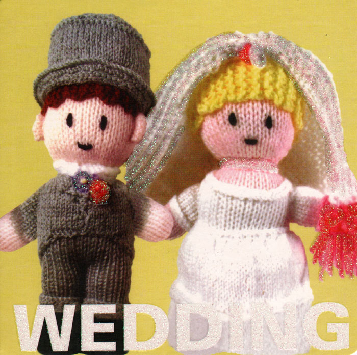 Cute knitted bride and groom.