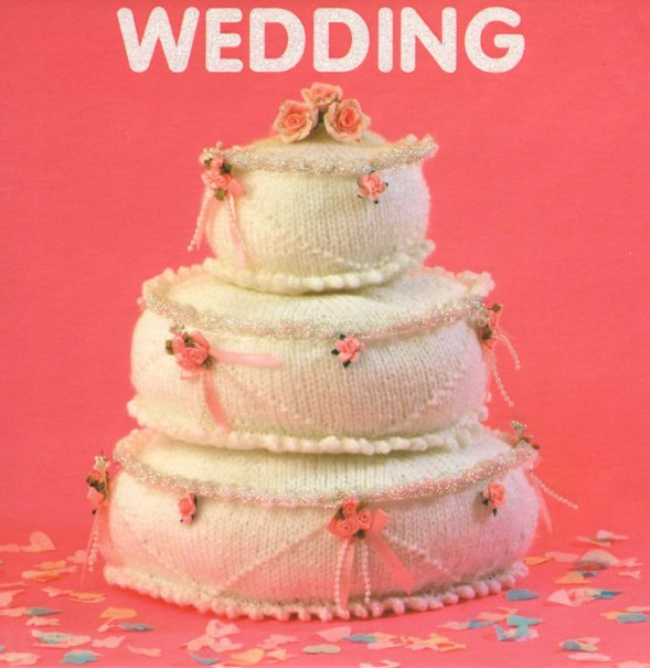 Knitted wedding cake that looks good enough to eat.