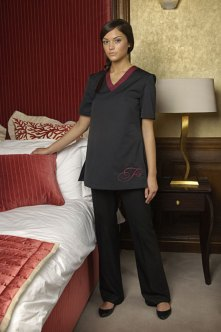 NKD Clothing, Scotland's leading provider of corporate wear, has achieved new PR success after designing stylish uniforms for renowned hotel group Fraser Suites. The design team created a smart yet practical uniform for the hotel group's house keeping team. The design has shorter sleeves to allow freedom of movement and is made from a hard-wearing material to suit the active nature of the job. The photo shoot took place in one of the 75 luxurious rooms in Edinburgh's new boutique Fraser Suite hotel.