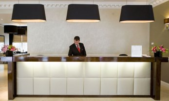 Hotel PR photography of the reception desk at Fraser Suites