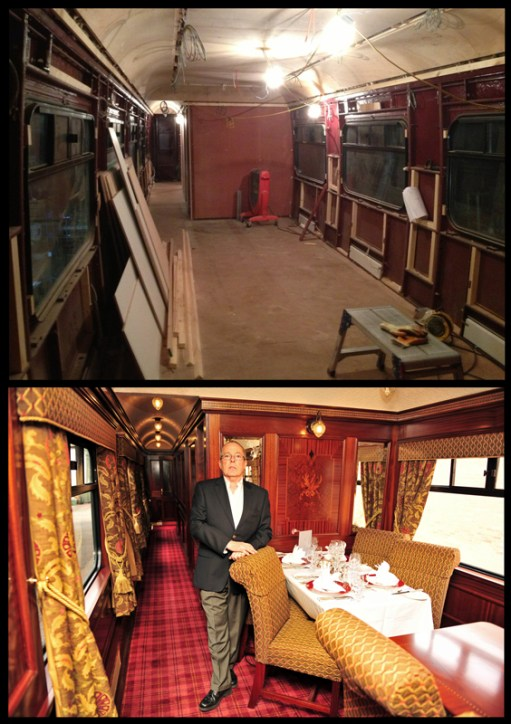 A before and after image showing the transformation of the Swift railway carriage