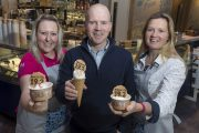 Food and drink PR photography for the launch of the new Mackie's of Scotland ice cream parlour in Aberdeen