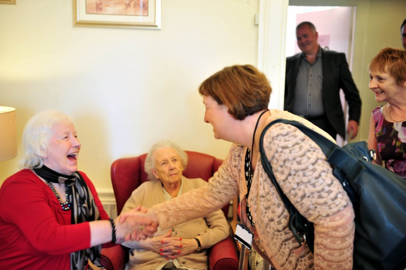 Annette Bruton, chief executive of the Care Inspectorate, meets residents at Astley House