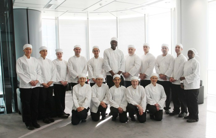Scottish PR photography group of chefs standing for Sodexo Prestige