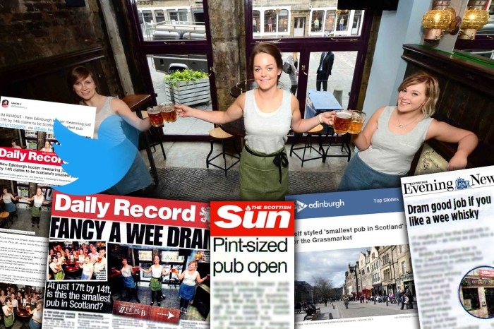 Eedinburgh PR agency celebrates succes of Scotland's smallest pub which created a media storm thanks to food and drink PR
