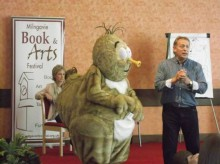 Horace the Haggis with Sally Magnusson and husband and illustrator Norman Stone