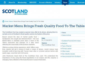 Corinthian's Market Menu on Scotland Food and Drink