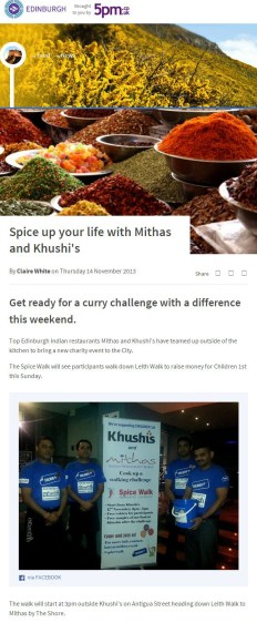 An Edinburgh charity walk, The Spice Walk, has been featured online, on STV Edinburgh's website.
