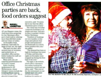 The Corinthian Club has been featured in The Herald, as the venue has experienced a boom in Christmas party bookings approaching the festive season