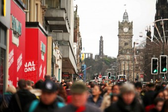 Crowds of Christmas shoppers on Princes Street in Edinburgh