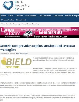 Bield, a leading housing and care provider in Scotland has appeared on Care Industry News
