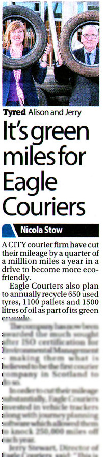 succeesful public relations in Edinburgh for Eagle Couriers