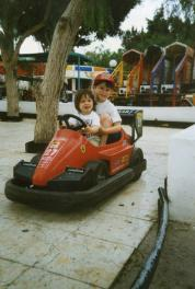 Craig aged four with his sister on a family holiday